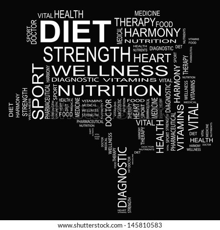 High resolution concept or conceptual white text word cloud or tagcloud as a tree isolated on white background as metaphor for health,nutrition,diet,wellness,body,energy,medical,sport,heart or science - stock photo