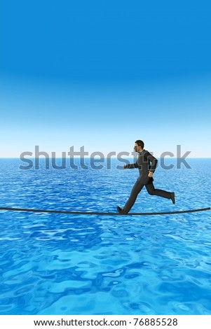 High resolution conceptual 3D businessman running on a rope above the sea. The man is a render of a virtual 3D model. - stock photo