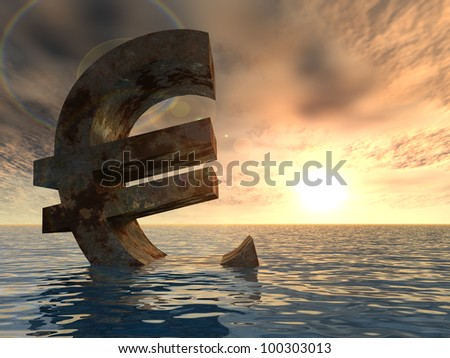 High resolution conceptual 3D currency euro sign or symbol sinking in water,sea or ocean as a concept for European crisis. It is a metaphor for financial,banking, economy,problem,danger at sunset - stock photo