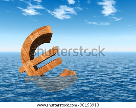 High resolution conceptual 3D currency euro sign or symbol sinking in water,sea or ocean as a concept for European crisis. It is a metaphor for financial,banking, economy,problem,danger or risk design - stock photo