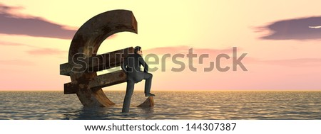 High resolution conceptual 3D currency euro symbol sinking in water,sea or ocean as a concept for European crisis.A metaphor for financial,banking,businessman,economy,problem,danger,risk,sunset banner - stock photo