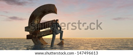 High resolution conceptual 3D currency euro symbol sinking in water,sea or ocean as a concept for European crisis,metaphor to financial,banking,businessman,economy,problem,danger,risk at sunset banner - stock photo