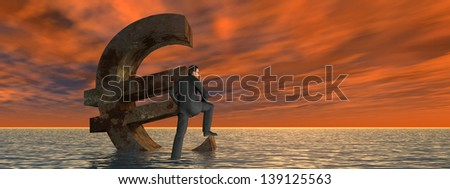 High resolution conceptual 3D currency euro symbol sinking in water,sea or ocean as concept for European crisis, metaphor for financial,banking,businessman,economy,problem,danger,risk at sunset banner - stock photo