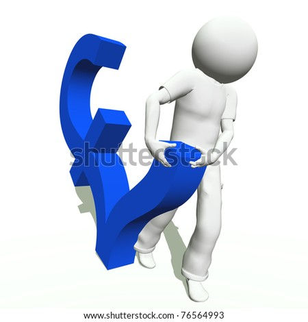High resolution conceptual 3D human carrying a blue pound symbol, isolated on white background.It is a metaphor ideal for business or banking design - stock photo
