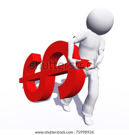 High resolution conceptual 3D human carrying a red dollar symbol, isolated on white background.It is a metaphor ideal for business or banking design - stock photo