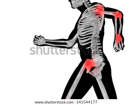 High resolution conceptual 3D human ideal for anatomy,medicine and health designs, isolated on black background.It is a man made of a skeleton and a transparent body as in a x-ray - stock photo