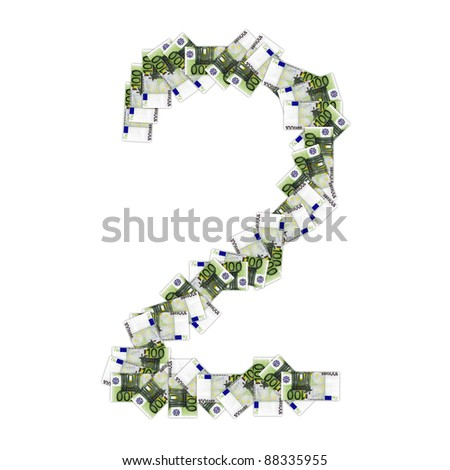 High resolution conceptual font made of euro banknotes isolated on white background, ideal for business, currency, money and other financial concepts. - stock photo