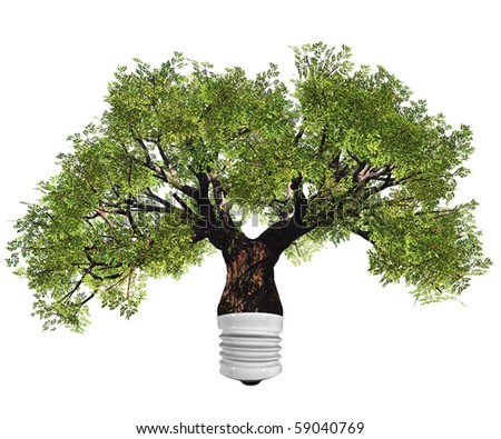 High resolution conceptual green tree as a lamp  isolated on white - stock photo