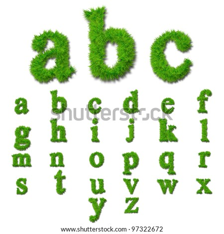 High resolution conceptual set or collection of green grass,eco font isolated on white background,ideal for nature,conservation,natural,organic,education,ecology,environment,health,spring or summer - stock photo