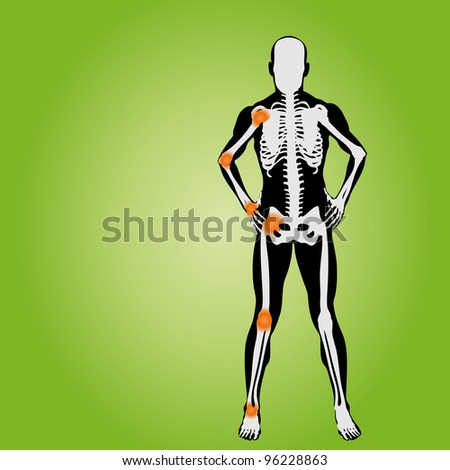 High resolution conceptual white and black man anatomy illustration on green background for medical,medicine,health,rheumatism,osteoporosis,muscle,ache,arthritis,inflammation,painful or bones design - stock photo