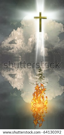 High Resolution Cross Hangs in Sky over Water with Fire Burning on Waters Surface - stock photo