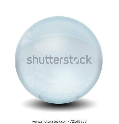 High resolution 3D blue glass sphere isolated on white background ideal as a web button - stock photo