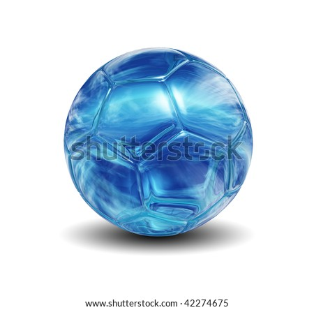 High resolution 3D glass soccer ball isolated on white background - stock photo