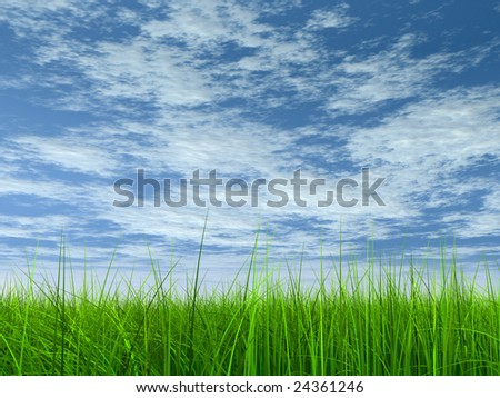 high resolution 3d green grass over a blue sky with white clouds as background and a clear horizon. Ideal for nature,green or sport designs. - stock photo