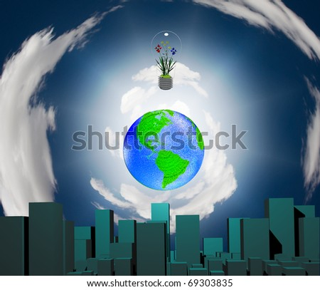 High Resolution 3D Illustration City earth and flowering plants in light bulb - stock photo