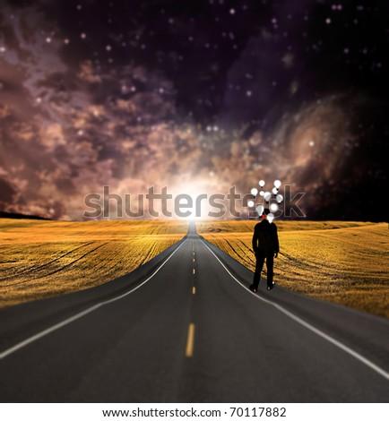High Resolution 3D Illustration Very shallow focus symbolic landscape - stock photo