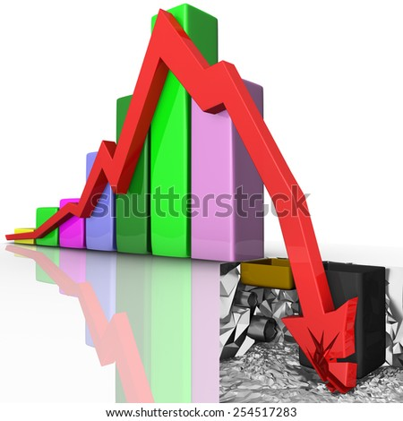 High resolution 3d render of a red arrow collapsing and breaking through the ground isolated on white background with reflection effect. Bankruptcy chart concept showing financial crisis  - stock photo