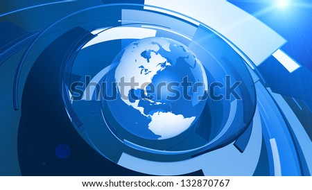 High resolution 3D render of Earth globe with abstract shapes rotating around. ** There is also a video animation version of this in my portfolio. - stock photo