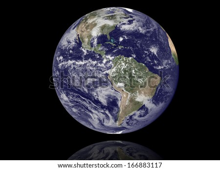 High resolution 3D render of Planet Earth. Shaded relief, natural colors, clouds cover. - stock photo