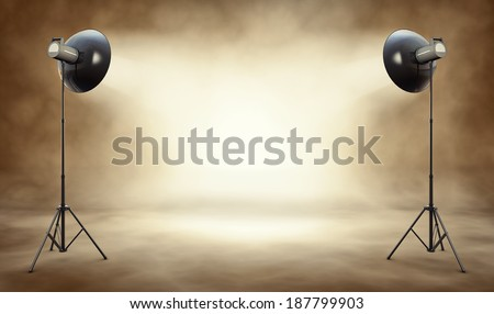 high resolution 3D rendering of a studio background - stock photo