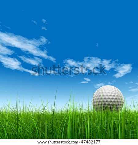High resolution 3d white golf ball in green grass on a blue sky with clouds background - stock photo