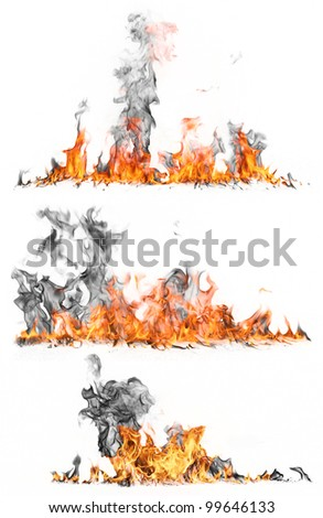 High resolution fire collection isolated on white background - stock photo