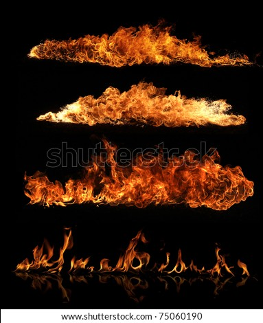 High resolution fire collection of isolated flames on black background - stock photo