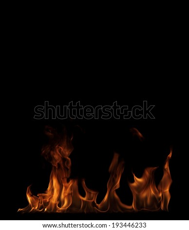 high resolution flame on a black background - stock photo