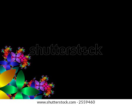 High resolution fractal rendering of multi colored flower petals with space - stock photo