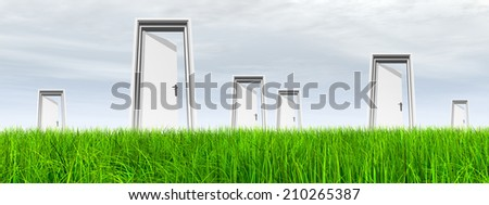 High resolution green, fresh and natural 3d conceptual grass over a gray sky background, a opened door at horizon ideal for religion, home, recreation, faith, business, success, opportunity or future - stock photo