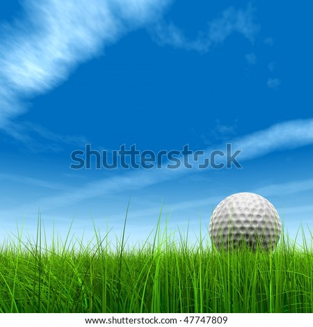 High resolution green grass with a conceptual golf ball over a blue sky background - stock photo