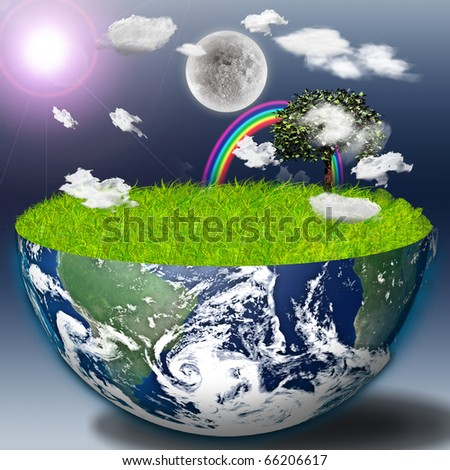 High Resolution Half earth with green grass and landscape - stock photo