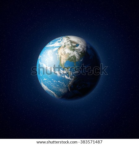 High resolution illustration of planet Earth as seen from space. Elements of this image are furnished by NASA - stock photo