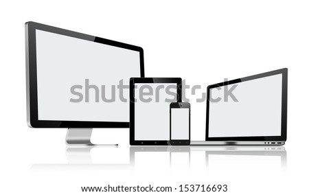 High resolution illustration set of modern computer monitor, laptop, tablet pc and mobile phone with blank screen. Isolated on white background. - stock photo