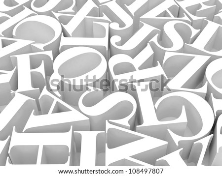 High resolution image. 3d rendered illustration. Background of alphabet. - stock photo