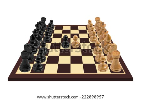 High resolution image of a wooden Chess board with a just started game. Isolated on white background. - stock photo