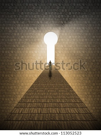 High Resolution Man before keyhole of light - stock photo