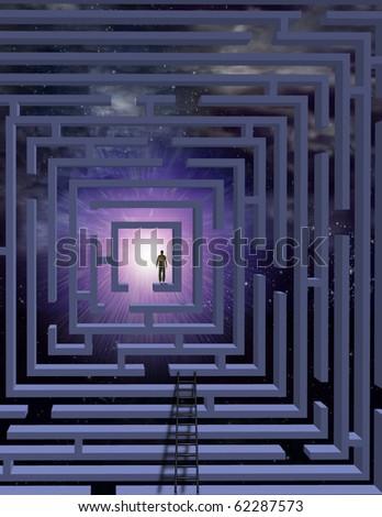 High Resolution Man in maze - stock photo