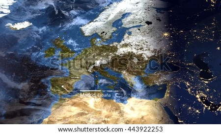 High Resolution Map Composition of Europe Pinpointing Madrid, Spain (Elements of this image furnished by NASA) - stock photo
