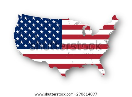 High resolution map of the USA with american flag. You can easily remove the shadows, or to fill in the map in a different color - clipping path included. - stock photo
