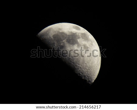 high resolution moon shot on black - stock photo
