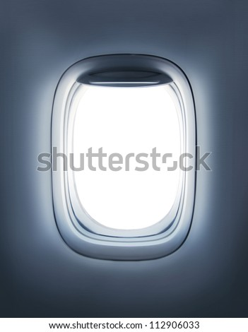 High resolution open aircraft's porthole - stock photo