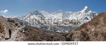 High resolution panoramic view of circus of the Ama Dablam - Everest region, Nepal - stock photo