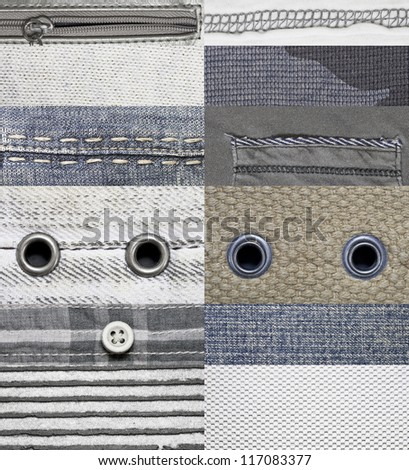 High Resolution Pieces of Different Fabrics - stock photo