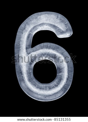High resolution render of the Number 6 made of ice on black. - stock photo