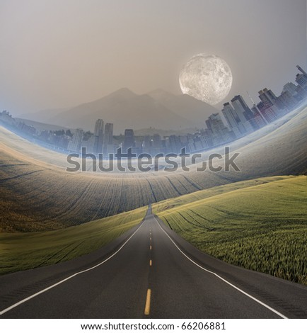 High Resolution Road to City - stock photo