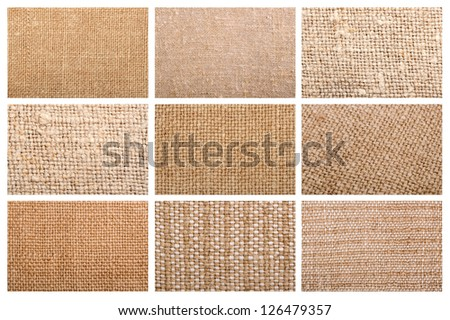 High resolution set of natural linen texture for the background. Collage - stock photo