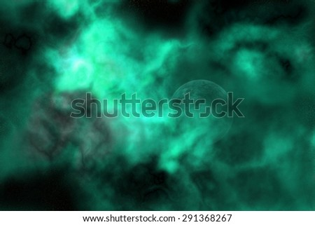 High resolution space background of a planet hidden in a green nebula - stock photo