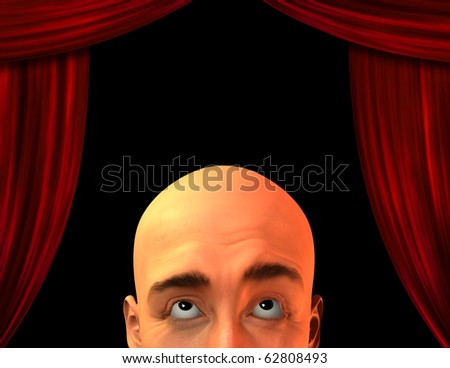 High Resolution Stage with close up mans head - stock photo