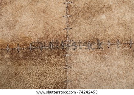 High resolution stitched suede leather texture - stock photo